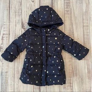 Baby Gap Navy Blue Puffer Coat with Silver Stars.